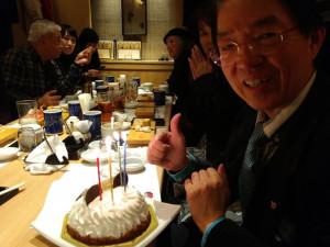 周東名誉会長のバースデーのお祝いもしました。